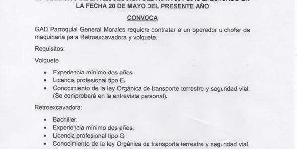 EL GAD PARROQUIAL, REQUIERE CONTRATAR LOS SERVICIOS DE UN CHOFER DE MAQUINARIA PESADA.